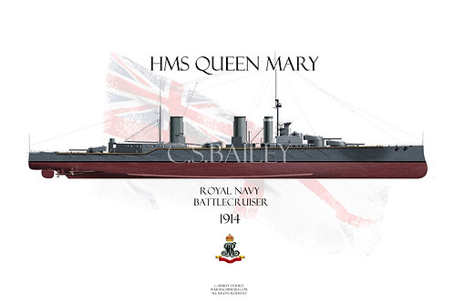 HMS Queen Mary 1914 FH t-shirt