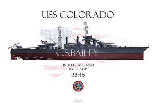 USS Colorado  BB-45 FH t-shirt