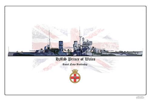 HMS Prince of Wales W/L print