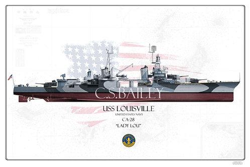 USS Louisville CA-28 Dazzle FH Print