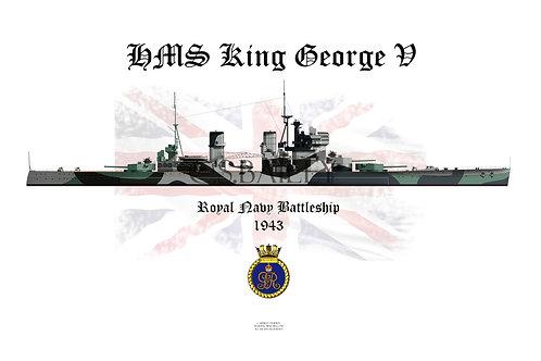 HMS King George V 1943 W/L t-shirt