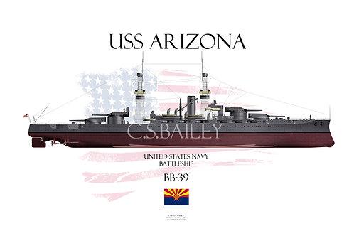 USS Arizona BB-39 1920 FH T-shirt