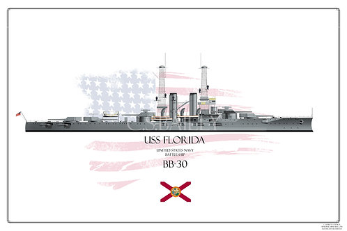 USS Florida BB-30 1920s WL Print