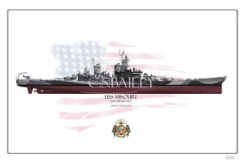 USS Missouri BB-63 Dazzle FH print
