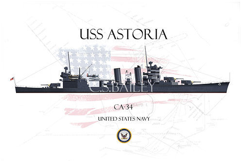 USS Astoria CA-34 WL T-shirt