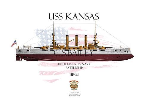 USS Kansas BB-21 FH T-shirt