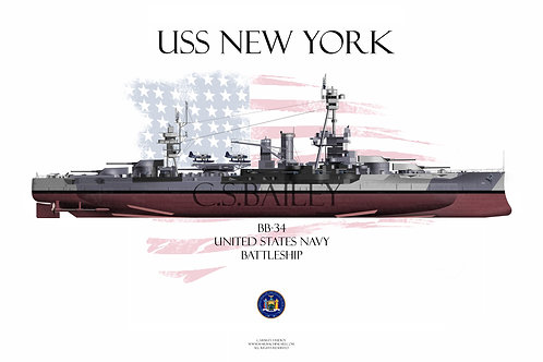 USS New York Dazzle BB-34 FH T-shirt