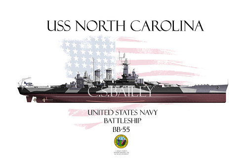 USS North Carolina BB-55 FH T-shirt
