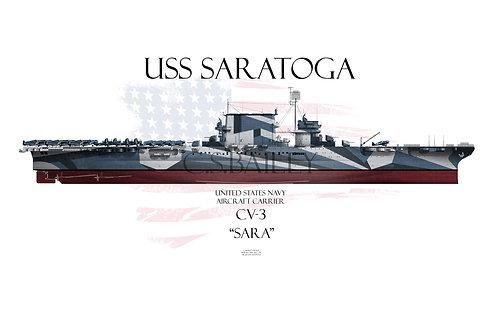 USS Saratoga CV-3 FH Dazzle t-shirt
