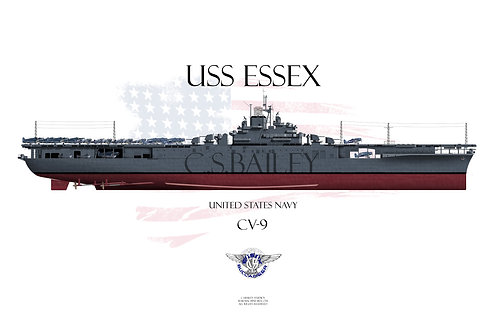 USS Essex CV-9 MS-21 FH t-shirt