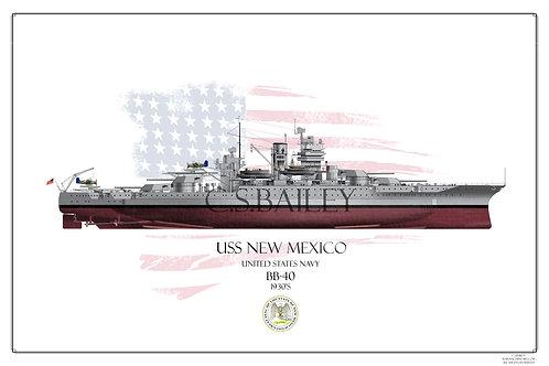 USS New Mexico 1930's FH print