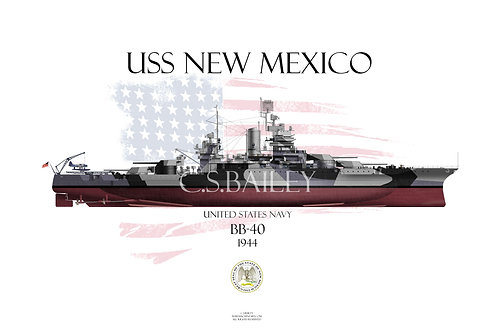USS New Mexico BB-40 1944 FH T-shirt