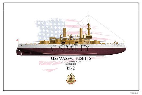 USS Massachusetts BB-2 FH Print