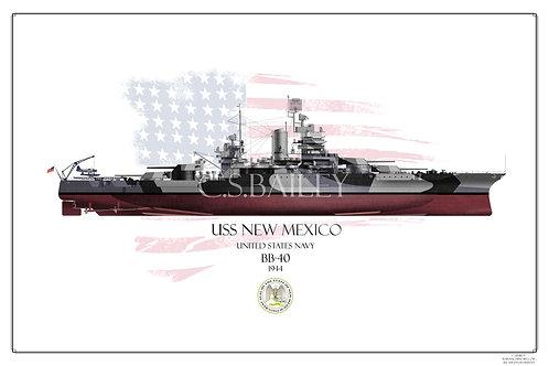 USS New Mexico 1944 FH print