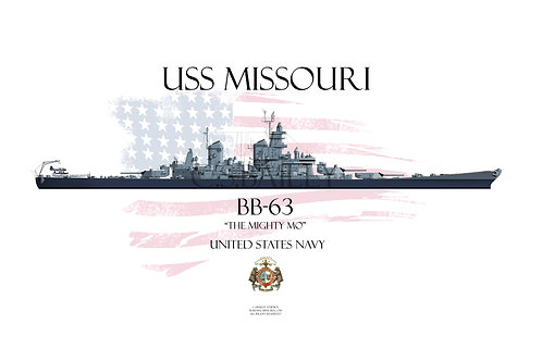 USS Missouri BB-63 MS 22 WL T-shirt