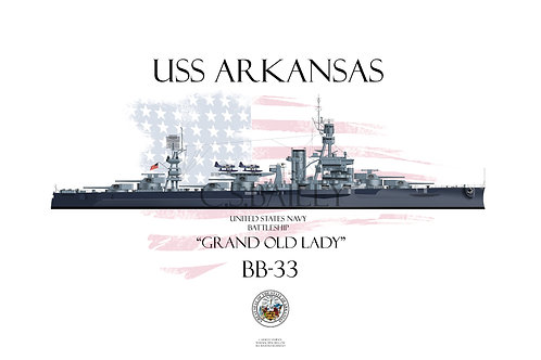 USS Arkansas BB-33 MS22 WL T-shirt