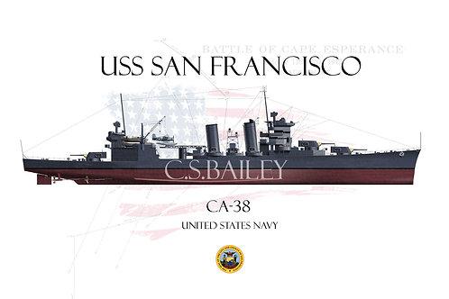 USS San Francisco CA-38 FH T-shirt