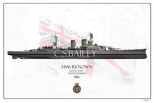 HMS Renown FH 1916  Grey Anti Fouling Print