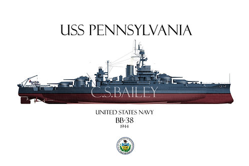 USS Pennslyvania BB-38-1944 FH T-shirt