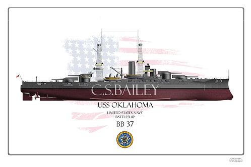USS Oklahoma BB-37 1918 FH Print