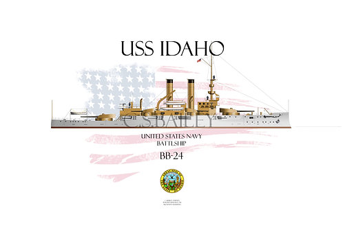 USS Idaho BB-24 WL T-shirt