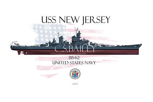 USS New Jersey BB-62  MS 21 FH T-shirt
