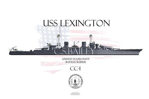 USS Lexington CC-1 WL 1941 t-shirt