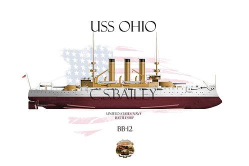 USS Ohio BB-12 FH T-shirt