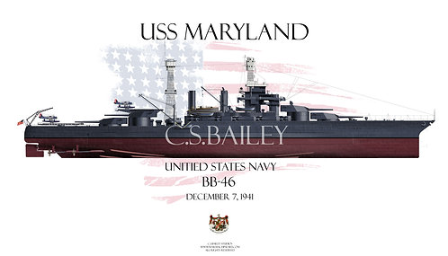 USS Maryland  BB-46 FH t-shirt