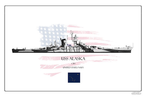 USS Alaska Dazzle WL Print