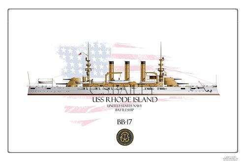USS Rhode Island BB-17 WL Print