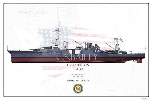 USS Houston CA-30 MS 1 Mod FH Print