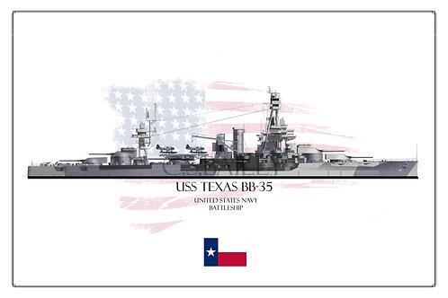 USS Texas Dazzle WL BB-35 Print