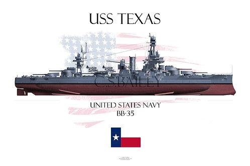 USS Texas  BB-35 MS21 FH T-shirt