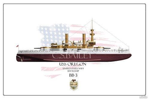 USS Oregon BB-3 FH Print