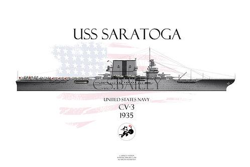 USS Saratoga CV-3 WL 1935 T-shirt