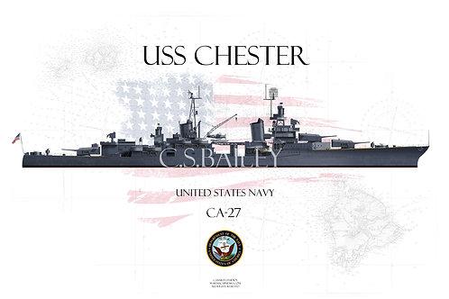USS Chester CA-27 WL T-shirt