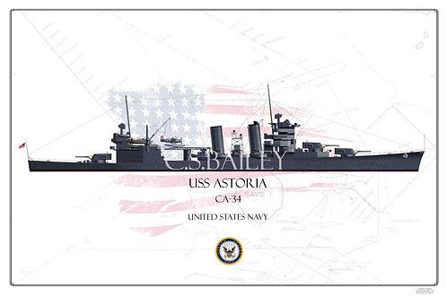 USS Astoria CA-34 WL Print