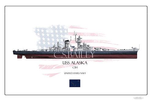 USS Alaska MS 22 FH Print