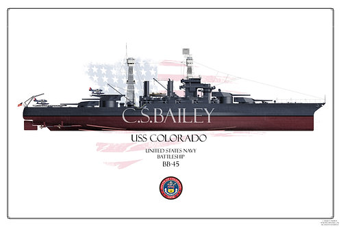 USS Colorado Early 1942 BB-45 FH print