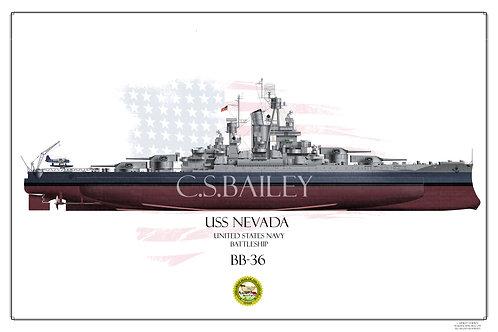USS Nevada MS-22 FH Print