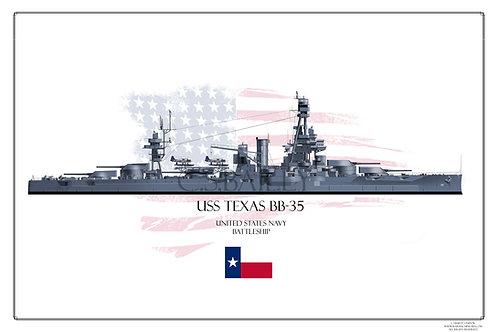 USS Texas BB-35 MS 21Print