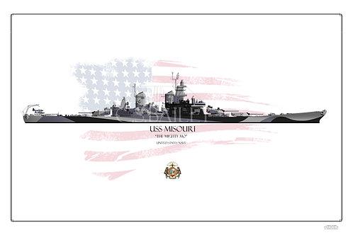 USS Missouri BB-63 Dazzle WL print