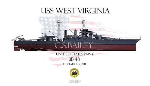 USS West Virginia BB-48 1941 FH T-shirt