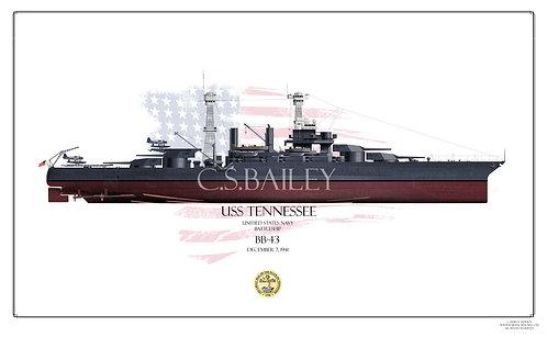 USS Tennessee BB-43 1941 FH Print