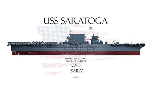 USS Saratoga CV-3 FH MS-21 t-shirt