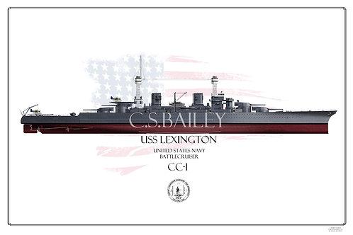 USS Lexington CC-1 1941 FH Print