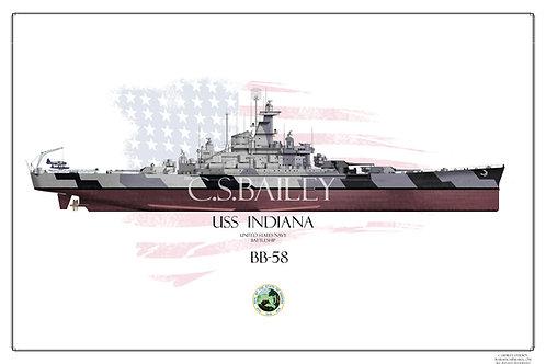 USS Indiana BB-58 FH print