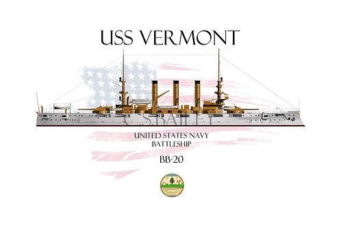 USS Vermont BB-20  WL T-shirt