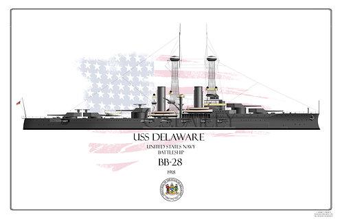 USS Delaware BB-28 WL Print